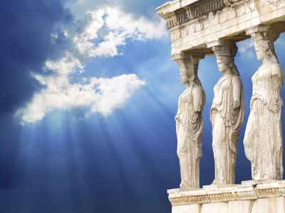 credit: Foto by TMSK via istockphoto.com - Famous Caryatid in Acropolis, Athens, Greece Iconic Landmark